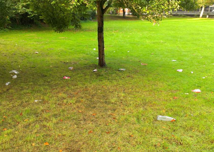 Litter in The paddock off St Catherine's Road, Grantham.