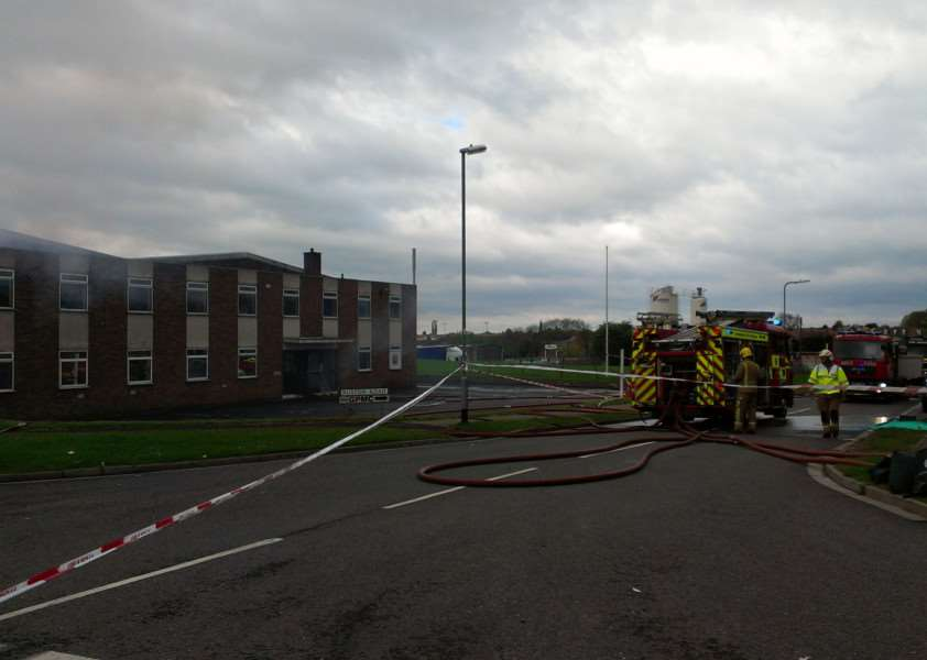Seven fire engines attended the fire at Grantham Manufacturing Ltd.