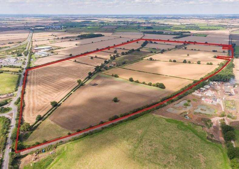 A plot of about 200 acres at Gonerby Moor has been put on the market. The area is outlined in red.