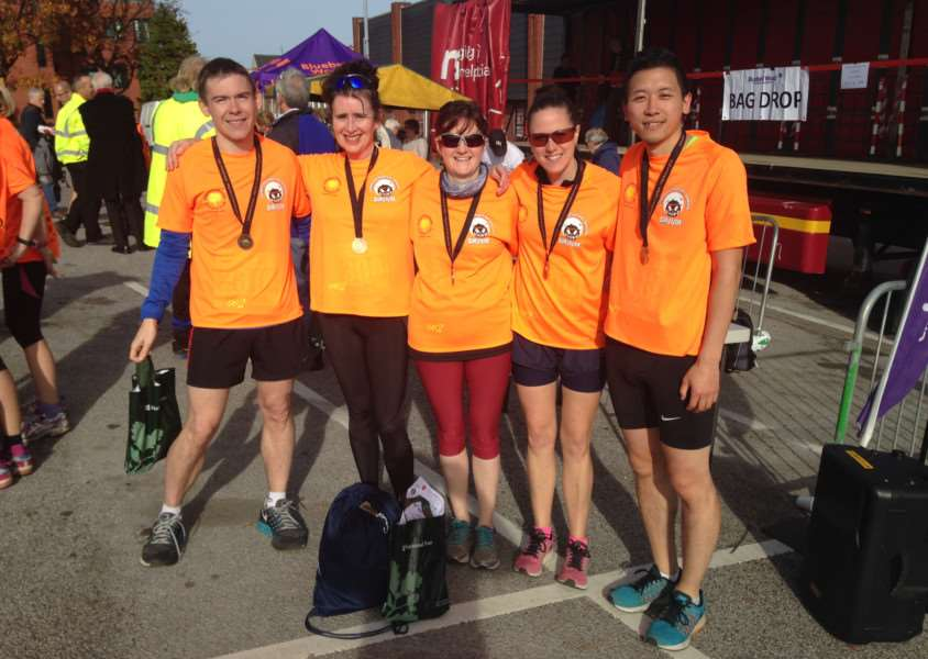 Some of the 'Fab 40 fund-raisers', who finished the year-long campaign at the Worksop half marathon. From left, Nick Payne, Nikki Carr, Louise Payne, Ruth Dunstan and Marco Chung.