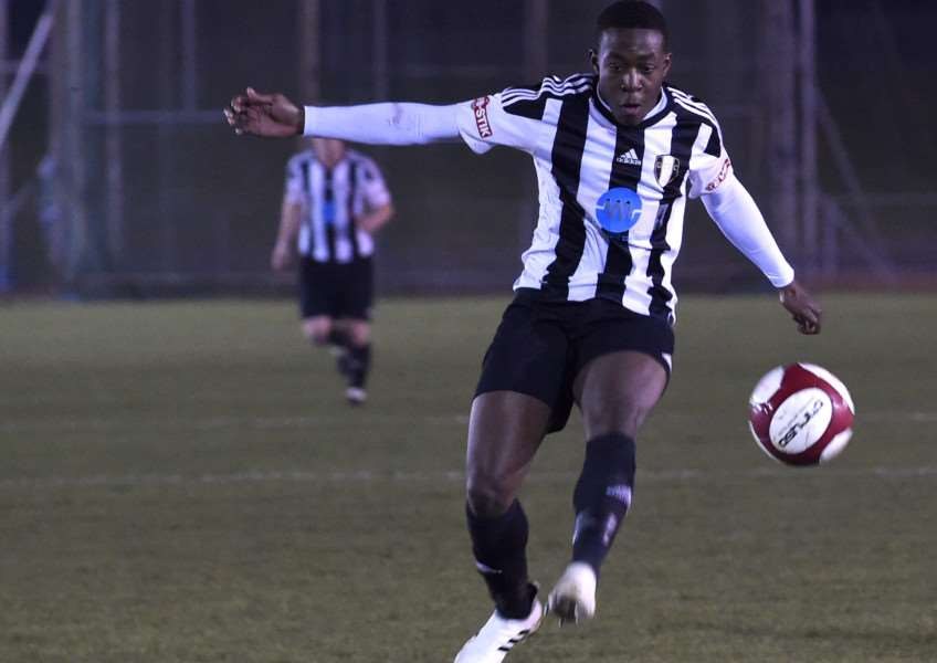Grantham Town's Jeremiah Dasaolu scored the winner at Coalville. Photo: Toby Roberts