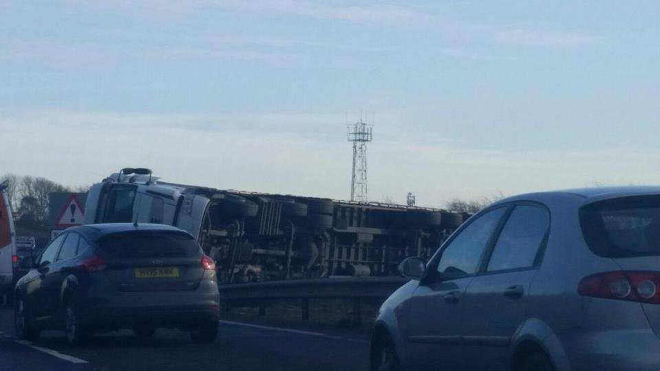 The lorry is blocking lanes on the A1. Credit: Chez Miller