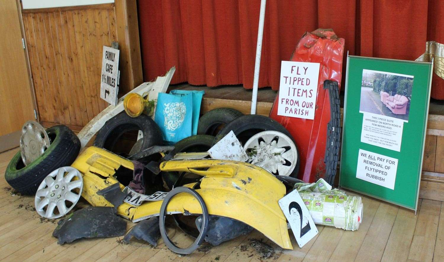 Display of fly-tipped items dumped around Leadenham at the Stick up for your Environment event. (8139878)