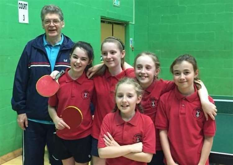 John Mapletoft with the Cliffedale Primary School under-11 girls' team who won the regional finals to qualify for the English Schools Table Tennis National Finals in 2017.. (43770051)