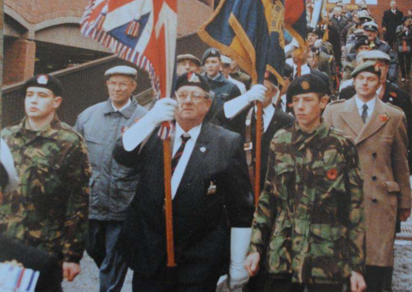 Eddie Compton, centre, at a Grantham Remembrance parade.