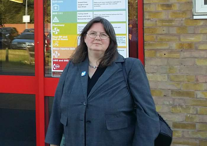 SKDC Councillor Charmaine Morgan, who is also chairperson of SOS Grantham Hospital, outside the A&E unit at the hospital EMN-160818-123745001