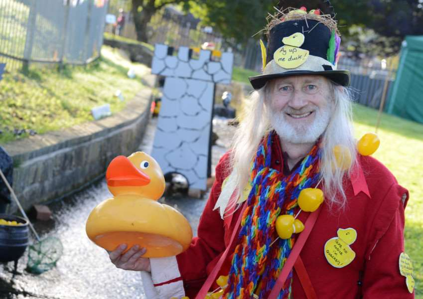 Organiser of Grantham Canal Society Discovery Day Tony Jackson, also known as 'Aye Up Me Duck', enjoyed a successful event. Photo: TRP-9-10-2016-004B (16)