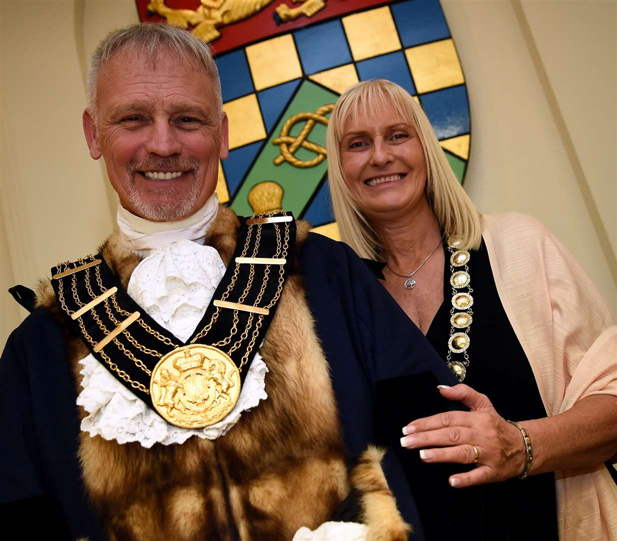 New mayor of Grantham Coun Dean Ward with his wife and Mayoress Flo. (42307327)