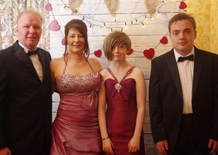 The Pattison family at the Candyland Ball, from left - Colin, Julie, Lucy and Joe. Photograph: Embella Productions