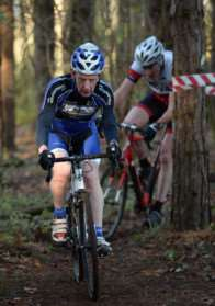 Witham Wheelers veteran Simon Cocker threads his way through the woods at RAF Cranwell. Photo: Alan East