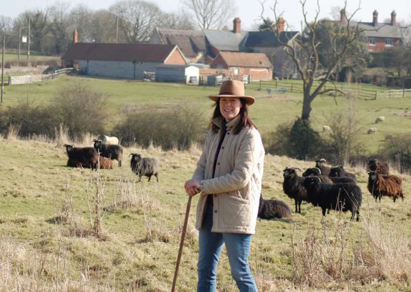 Shepherdess Sophie Arlott tends her flock.