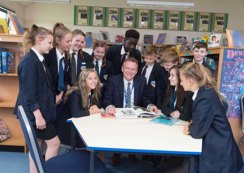 Headteacher Mark Guest and pupils of Sir William Robertson Academy in Welbourn which has been given permission to launch a new academy trust.