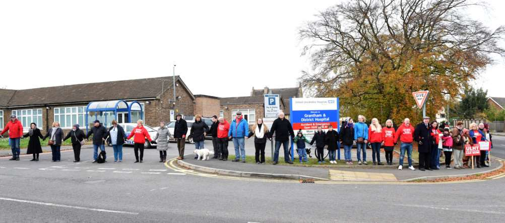 A line was formed by 100 protesters outside Grantham Hospital.