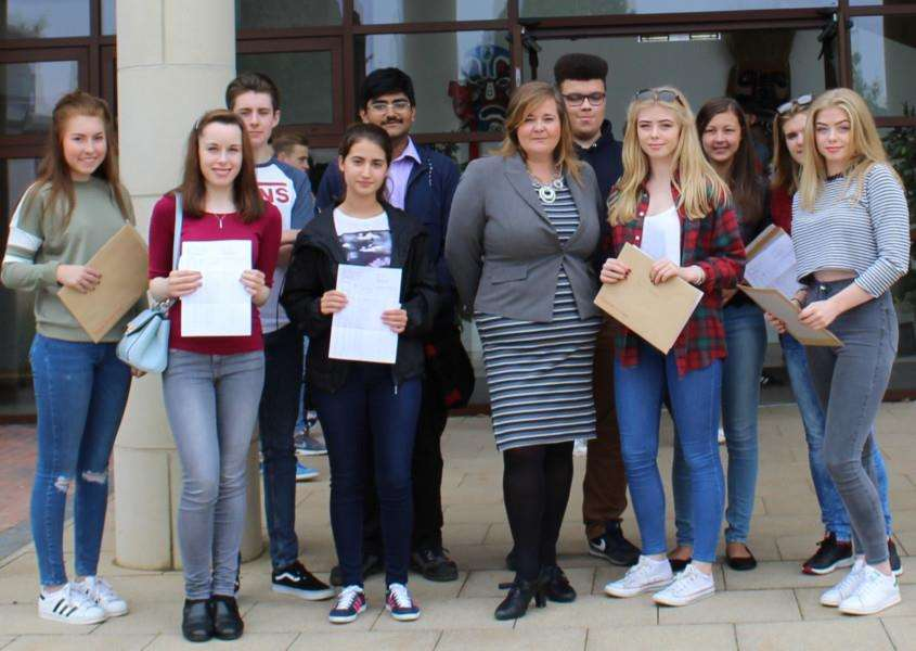 Priory Ruskin students with headteacher, Ms Wyles