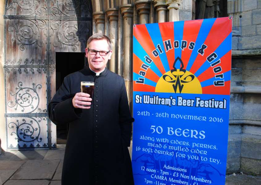 Cheers! Fr Stuart Cradduck looks forward to the first beer festival to be held at St Wulfram's Church.