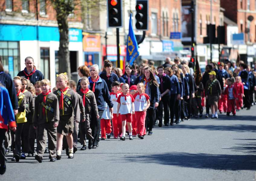 Scouts parade to mark St George's Day.