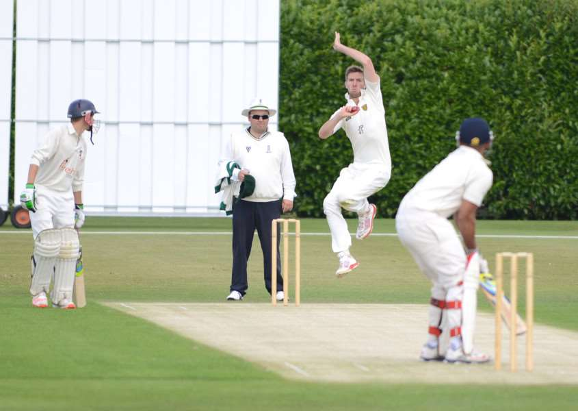 Joe Peck bowling for Grantham first XI. Photo: Toby Roberts