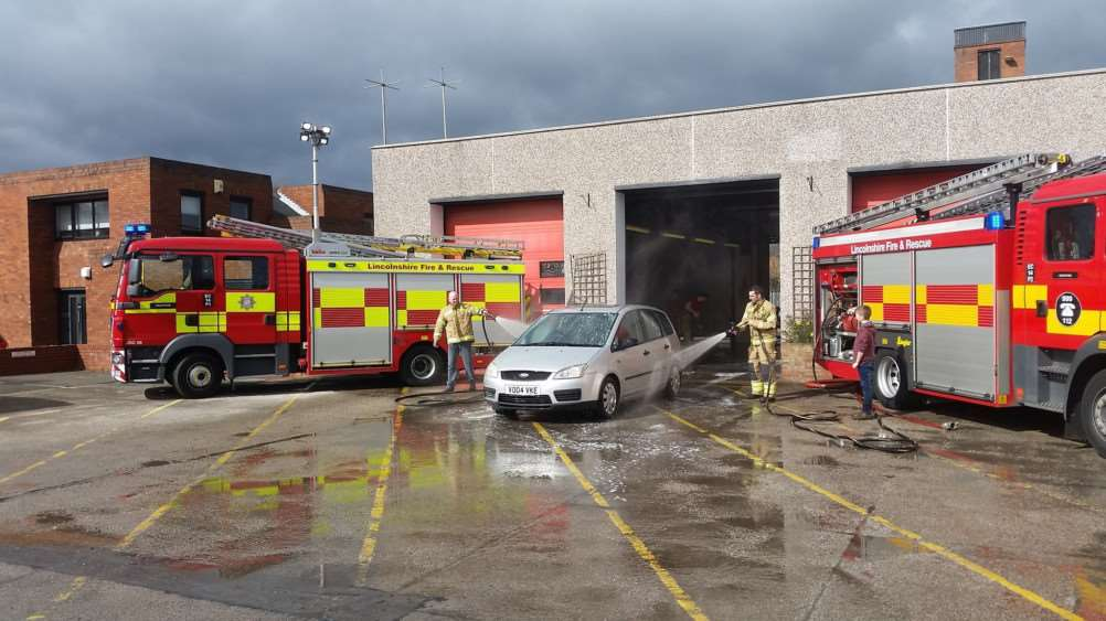 Grantham firefighters held a car wash at the Harlaxton Road station.