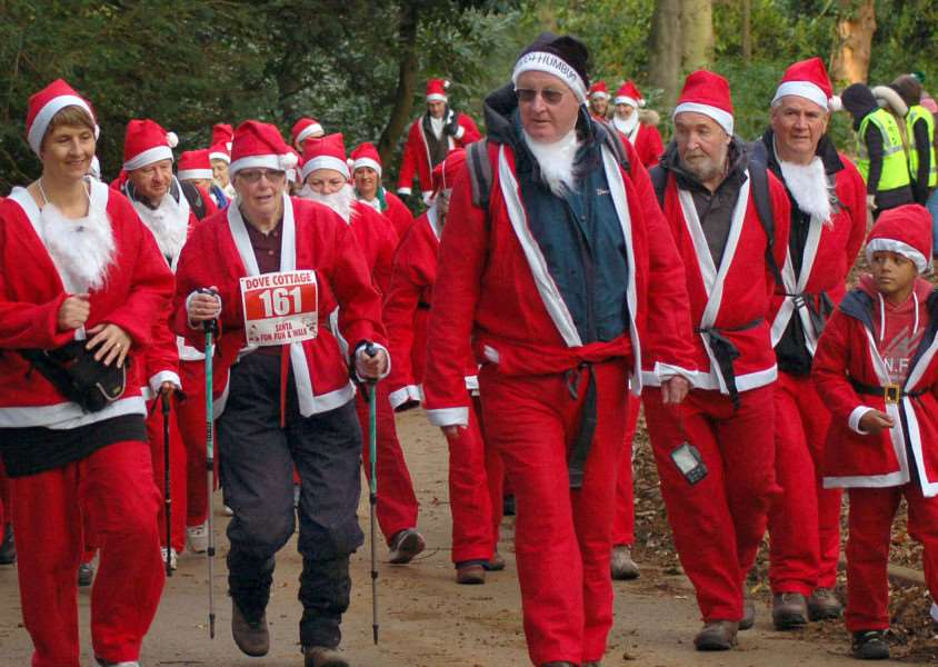 Charity Santas make their way through the Belvoir Castle grounds PHOTO: Tim Williams