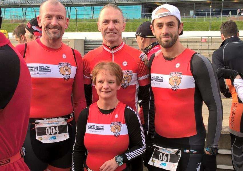 Belvoir Tri Club's Mark Angeloni, Gerry Hyde, Chris Masters and Tracey Poole.