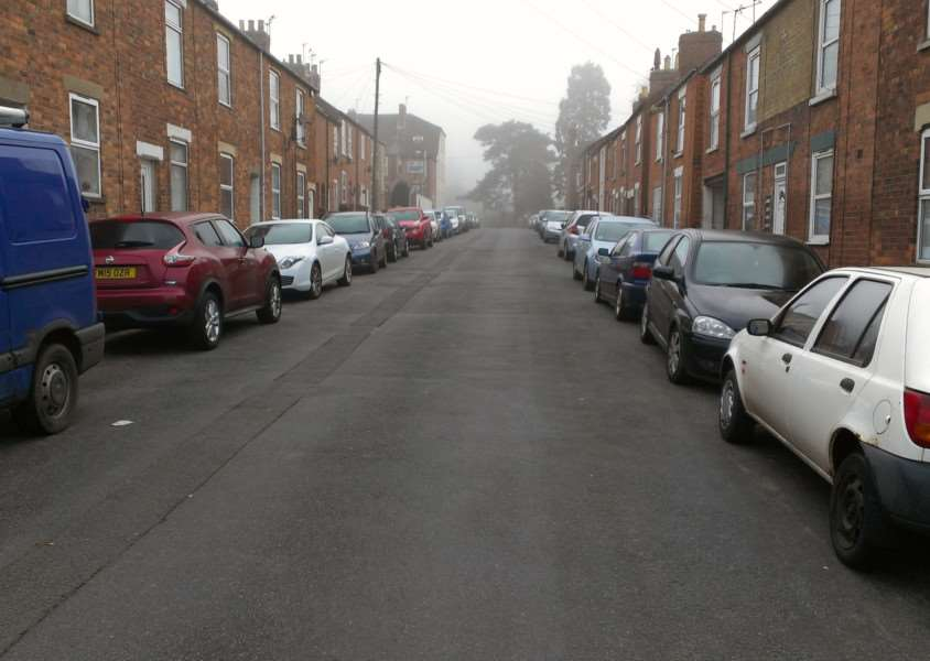 Parking on Stuart Street in Grantham. EMN-160321-145339001