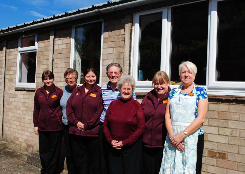 Outside the outreach centre with its new windows paid for by Sainsbury's, are from left, Sainsbury's Amy Brooks, Debbie Wright, Andrea Spick - Grantham Passage's Mike Monaghan and Ruby Stuckey - and Sainbury's Michelle Davis and Carol Bamber.
