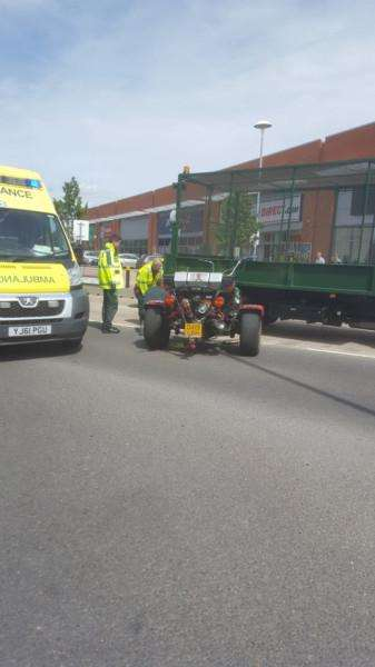 Trike accident on Sankt Augustin Way. Photo: Michael Dixon