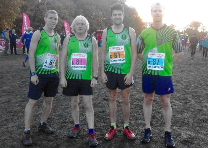 Grantham Running Club's cross country relay team at Mansfield.