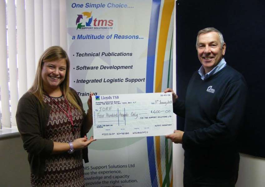 Jayme Balossino, Regional Fundraiser for JDRF, with Andrew Smith who is TMS Operations Director.