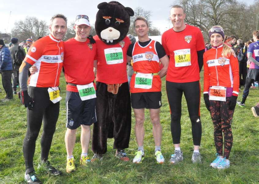 BTC members at Cambridge Half Marathon, from left - Chris Pugh, Martin Jolly, Chris Masters (Barry the Beaver), Mark Wilson, Rob Spashett and Natalie Eastaugh.