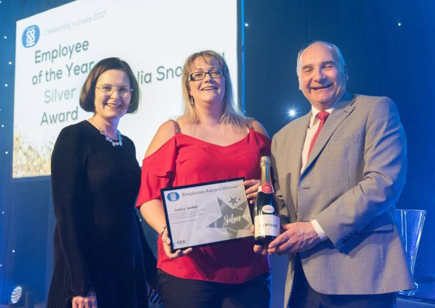 Employee of the Year silver award winner Cordelia Snowball, centre, with Lincolnshire Co-op Chief Executive Ursula Lidbetter, left, and President Stuart Parker, right. ''Picture: Chris Vaughan Photography