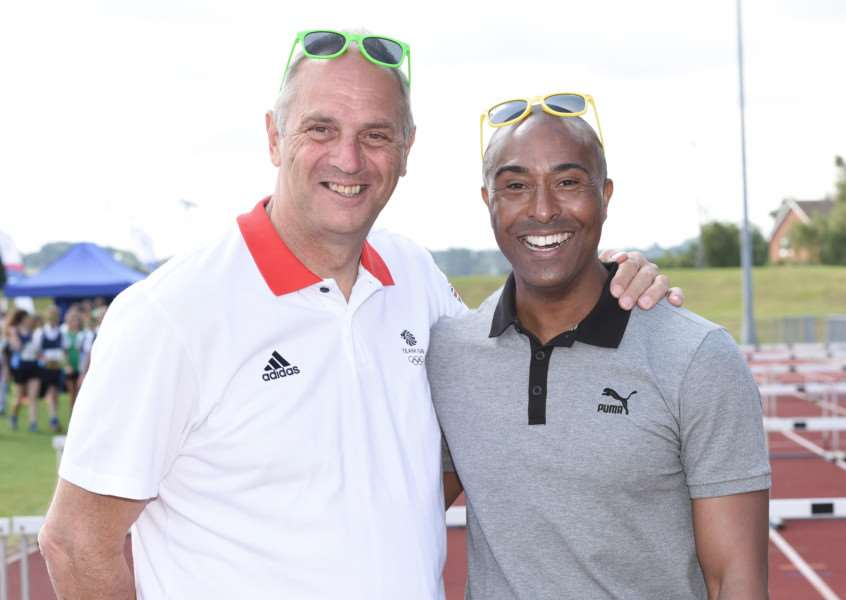 Olympic stars Sir Steve Redgrave and Colin Jackson at the Summer Cup in Grantham.