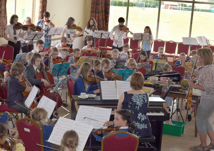 Young string players rehearsing in Hose Village Hall in preparation for Violins in the Vale last year' ''PHOTO: Tim Williams