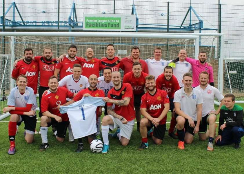 Charity football mark in memory of Mark Tilford. Pictured are - Stephen McKee, Brian Giddens, Harvey Shelton, Dave Foston, Richard Barnes, Stephen Swart, Richard Smith, Chris Whatley, Mark Riley , Chris Platts, Emlyn Wright , Mark Rayson, Leo Vincent , Glen O'meary, Darren Eales, Matt Round, Martyn Eales, Karl Edwards, Lee Marshall, Simon Chadwick and referee Neil Walton.