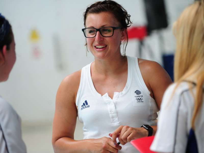 Fulbeck Olympic swimmer Sophie Allen meets students at the Summer Cup in Grantham. EMN-150707-170542001