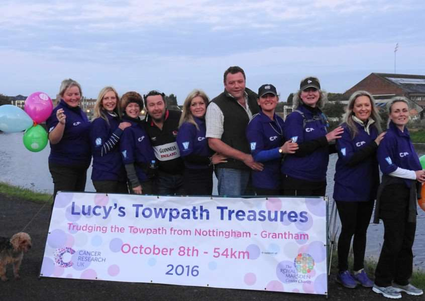 Towpath Treasures are, from left ' Sharon Roscoe, Helen Burton, Sharon Beevers, Phill Macer, Sally Pick, Edward Greaves, Lucy Greaves, Angie Forman, Jocelyn Holmes, and Emma Shelton. Lynne Dales also did the walk.