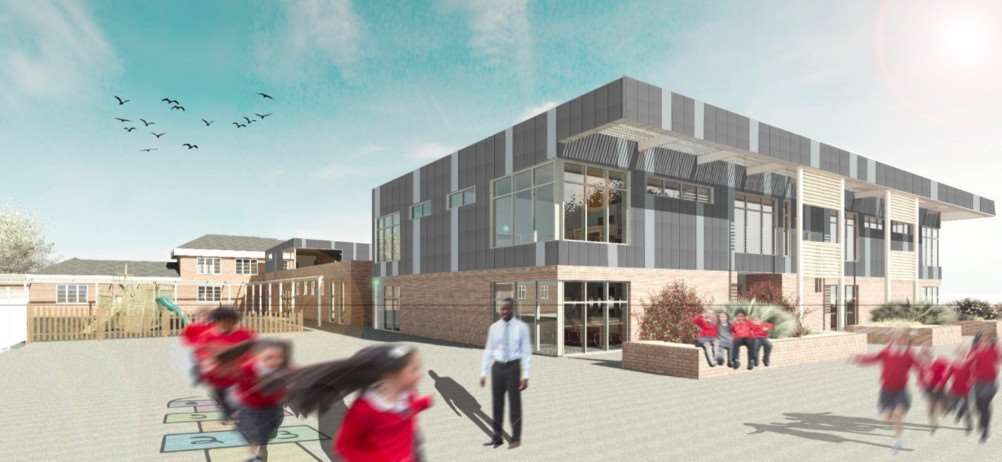 An artist's impression of the new build at Ambergate Sports College in Grantham.