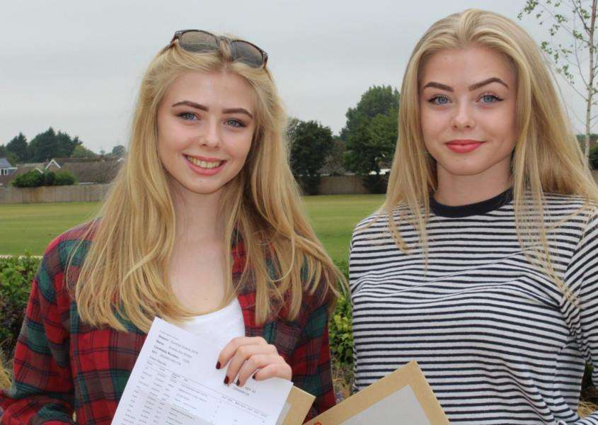 All smiles on GCSE results day for Amelia and Eleanor Britten at Priory Ruskin Academy.