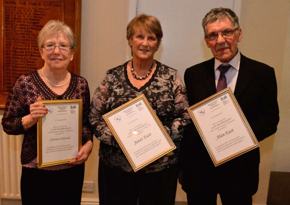 Witham Whieelers life members Christine Edwards, Janet East and Alan East, along with Loz Willetts (pictured below) who was also awarded with Club Person of the Year. Photo: Alan East