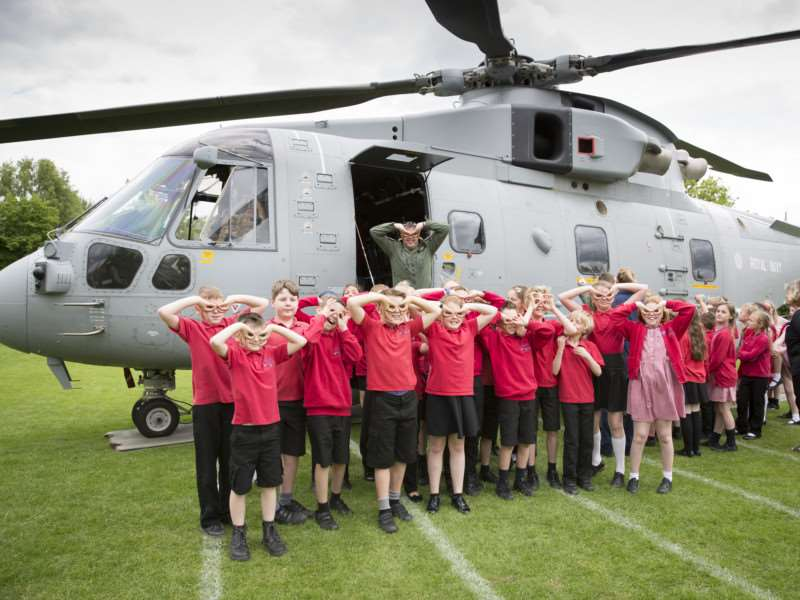 Pupils enjoy learning about the Royal Navy Merlin at Long Bennington School.