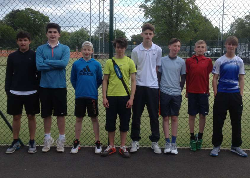 Grantham Tennis Club 16U boys, from left - Lewis Picker, Joe Patton, Adam Tapson and Elliot Smith Rasmussen, alongside the Boston team.