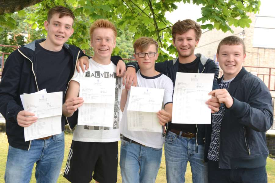 GCSE results at King's School. From left are Sam Farrington, Oliver Jakes, Freddie Young, Cameron Cox, Josh Peters. Photo: TRP-25-8-2016-951A (8)