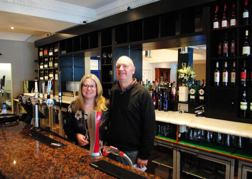 Allison and David Wells in the bar of their new restaurant, Wellington's Kitchen and Bar, on High Street.