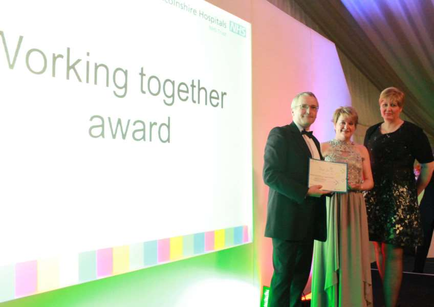 ULHT awards: Working together Award - Winners Beat It team, from left, Dr Andrew Houghton, Cara Mercer and Gini Dellow.