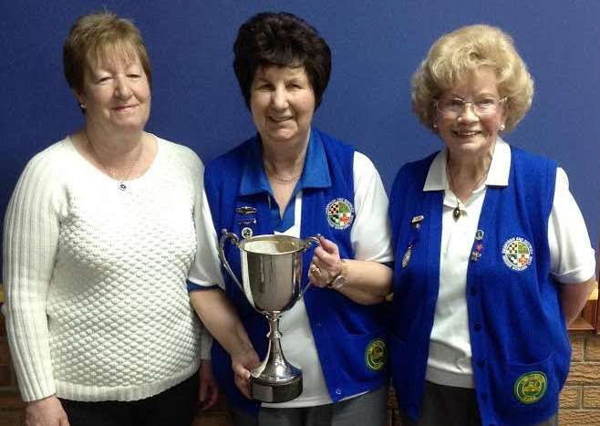 Grantham and District Indoor Bowling Club's Pat Wallwork Trophy winners'Sylvia Hatcher, Shirley Beardsley and Gladys Solesbury.