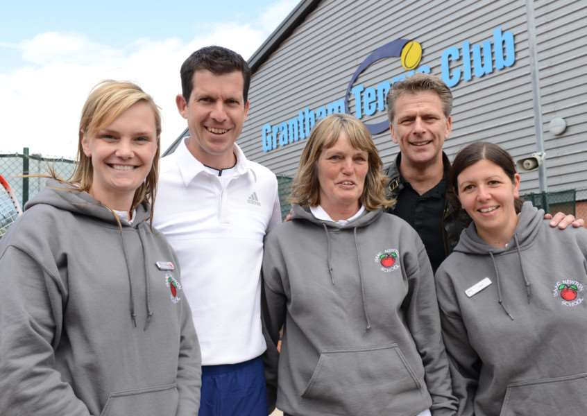 Tim Henman and Andrew Castle meet fans at Grantham Tennis Club.