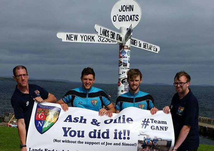 #TeamGANF - Ollie Maltby and Ashley Caress pictured centre at John O'Groats with Joe Bogumsky and Simon Buckberry EMN-160817-103324001