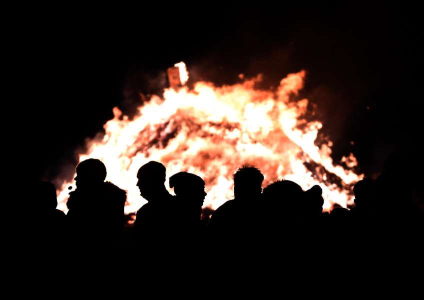 The bonfire organised by Lincolnshire Fire Aid at Great Gonerby on Saturday.