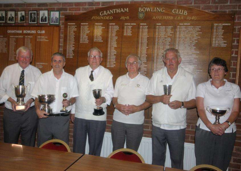 Grantham Bowls Club winners and runners-up, from left - B. Smith, A. Gostick, Joe Lewis, A. Ludwig and R. Sumner.