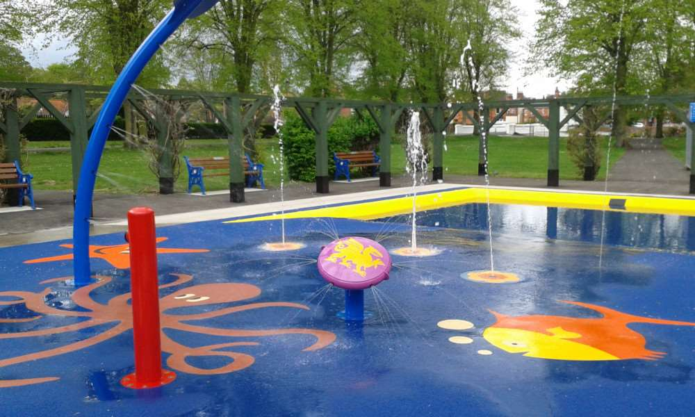 The paddling pool in Wyndham Park, Grantham.